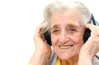 portrait of a senior woman listening to music